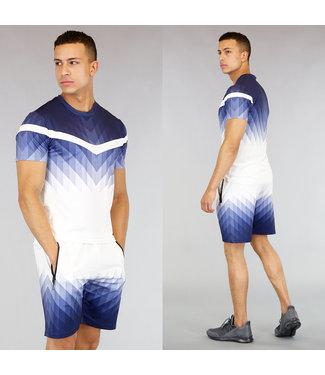 Wit Heren Trainingstenue met Blauw Patroon