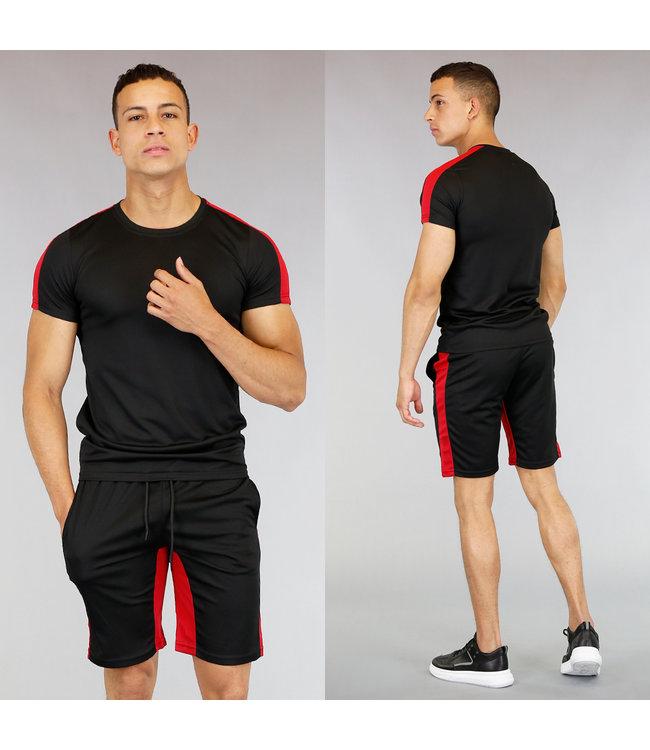 Zwart Heren Trainingstenue met Rode Details