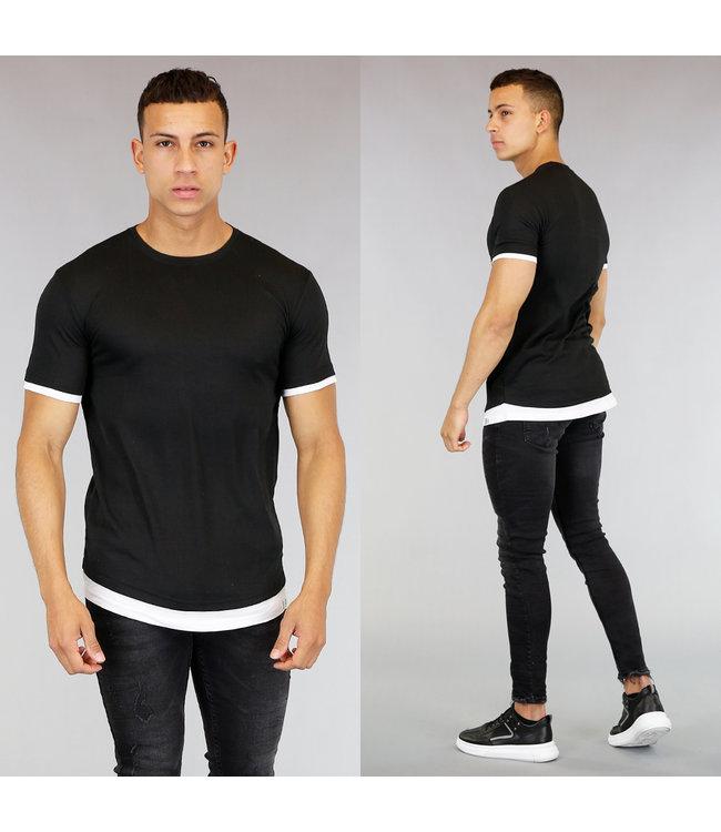 NEW! Zwart Heren T-Shirt met Wit Onder Shirt
