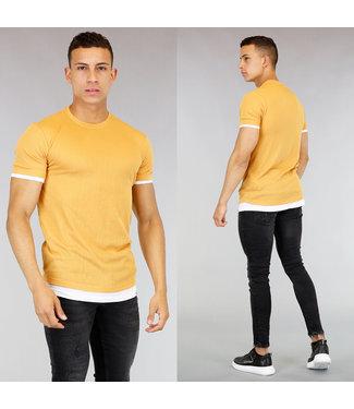 !OP=OP Mosterdgeel Heren T-Shirt met Wit Onder Shirt