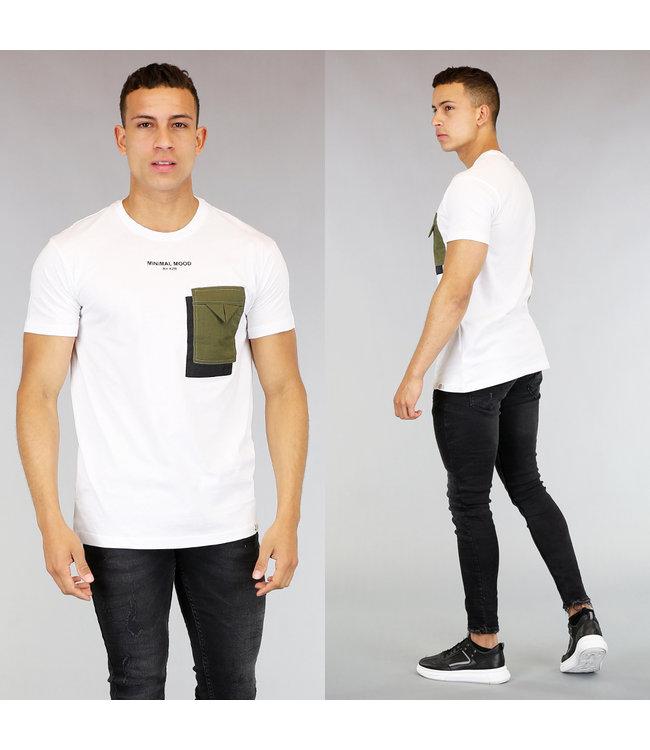 !OP=OP Wit Heren T-Shirt met Borstzakje