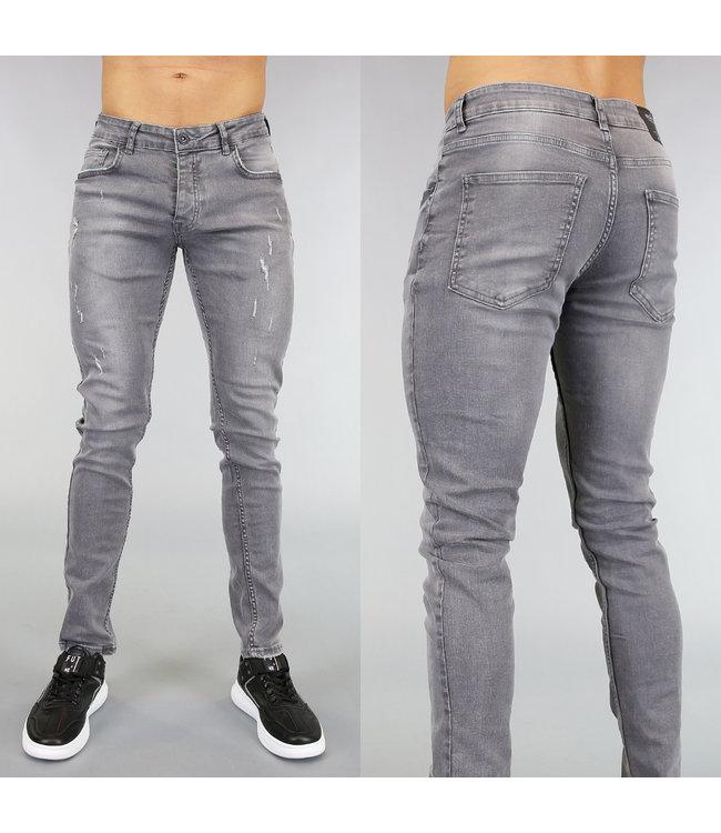 NEW! Grijze Stretch Heren Jeans met Krassen