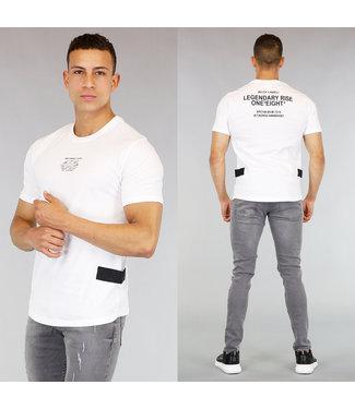 !OP=OP Wit Heren T-Shirt met Tekst en Klittenband