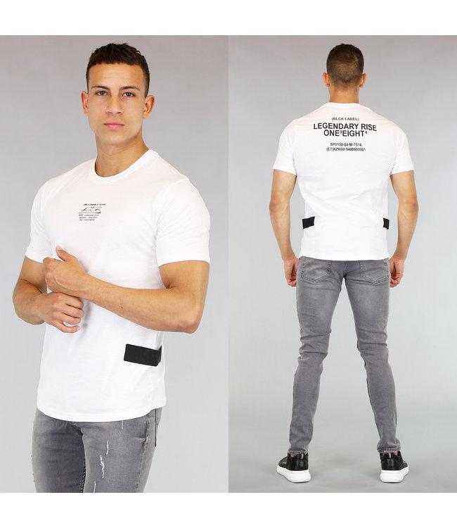 NEW! Wit Heren T-Shirt met Tekst en Klittenband