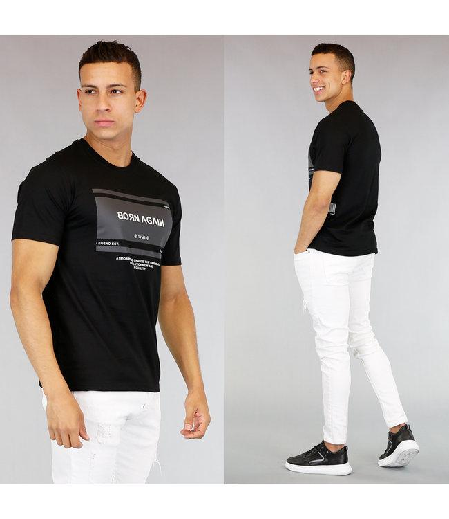 NEW! Zwart Heren T-Shirt met Barcode en Opdruk