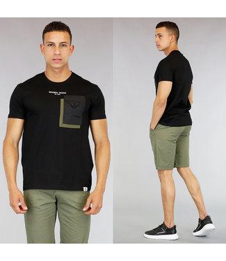 !OP=OP Zwart Heren T-Shirt met Borstzakje