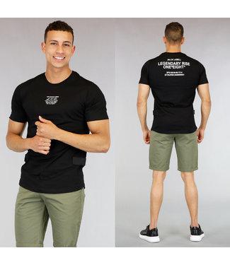 !OP=OP Zwart Heren T-Shirt met Tekst en Klittenband