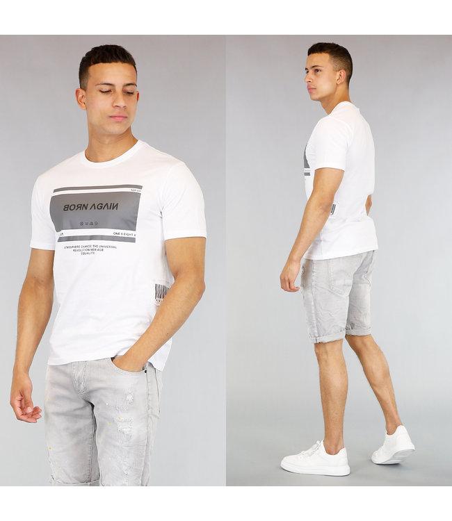 !OP=OP Wit Heren T-Shirt met Barcode en Opdruk