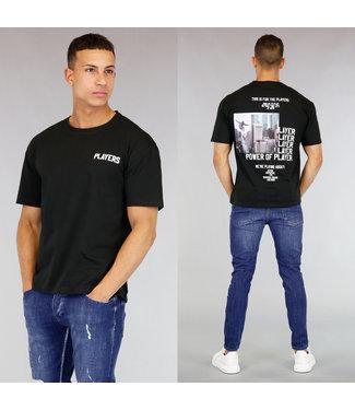 !OP=OP Zwart Oversized Players Heren Shirt