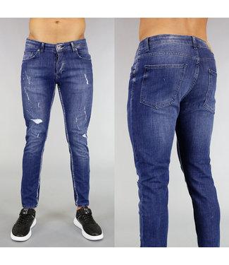 Stretch Heren Jeans met Wassing en Scheuren