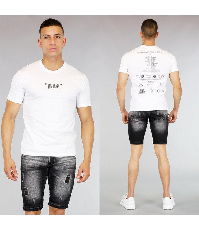Wit Heren T-Shirt met Zwarte Tekst