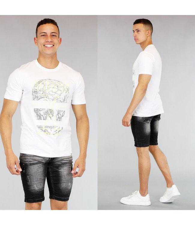 Wit Heren T-Shirt met Neon Print