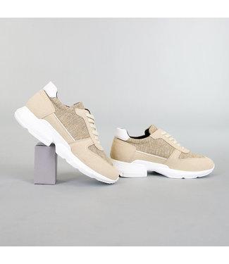 NEW! Beige Gemêleerde Heren Sneakers
