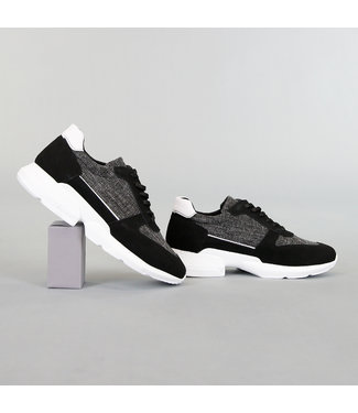 Zwart Gemêleerde Heren Sneakers