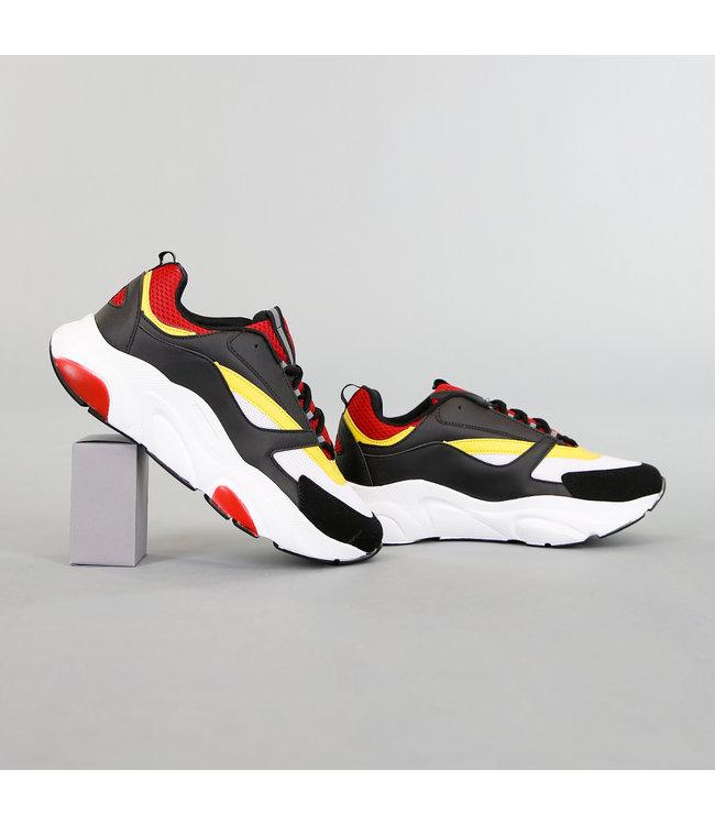 !OP=OP Grove Zwart/Witte Heren Sneakers met Rode Details