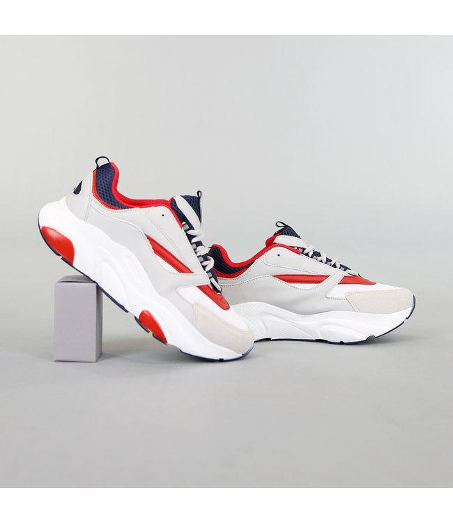 Grove Grijze Heren Sneakers met Rode Details