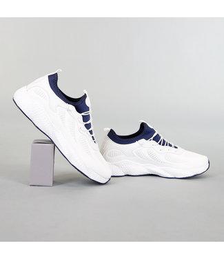 Sportieve Heren Sneakers Wit/Blauw