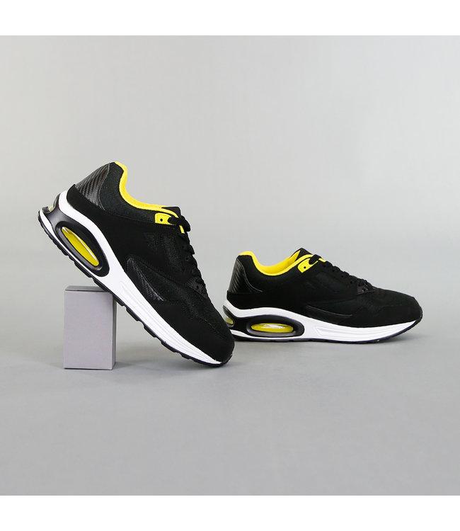 NEW! Grove Zwart/Gele Heren Sneakers met Lucht Zool
