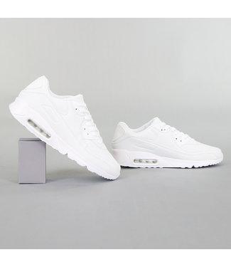 !OP=OP Witte Lederlook Heren Sneakers met Lucht Zool