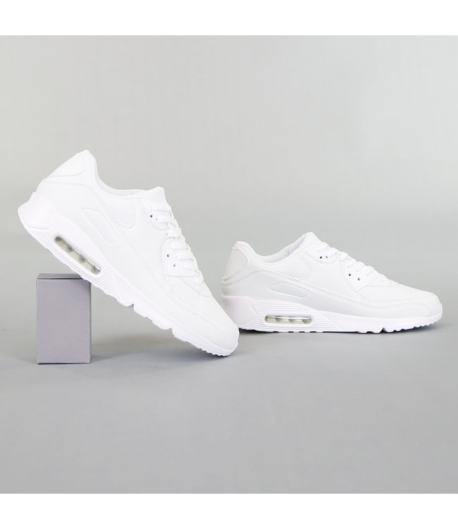 NEW! Witte Lederlook Heren Sneakers met Lucht Zool