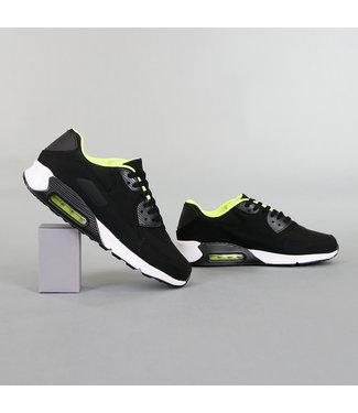 !OP=OP Zwarte Lederlook Heren Sneakers met Lucht Zool