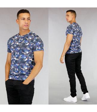 Blauw Heren T-Shirt met Vogel Print