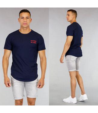 Blauw Oversized Heren Shirt