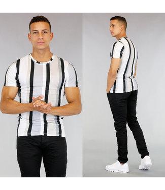 Grijs Gestreept Heren T-Shirt