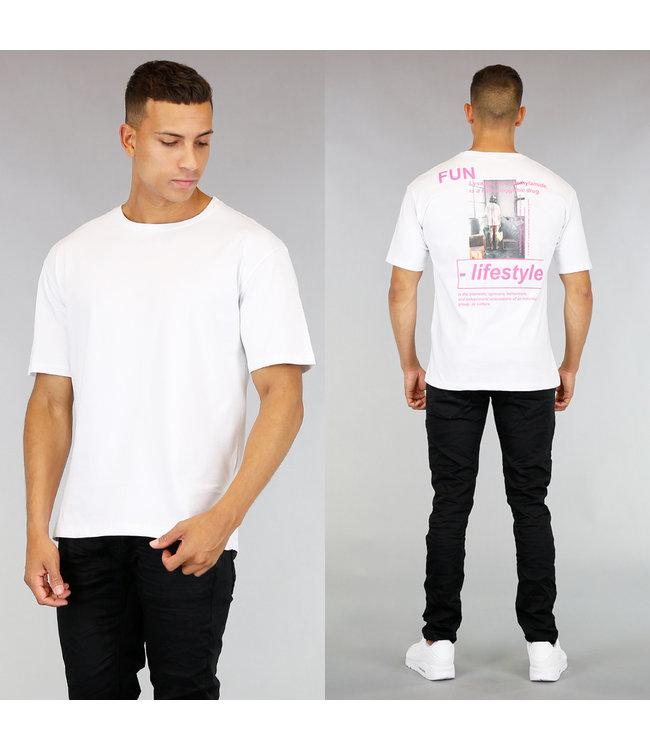 Wit Oversized Heren Shirt met Print