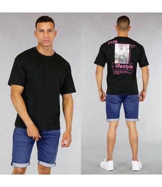 Zwart Oversized Heren Shirt met Print