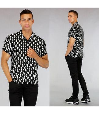 Zwart/Witte Heren Blouse