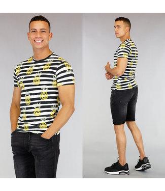 !SALE40 Gestreept Heren T-Shirt met Ananas Print