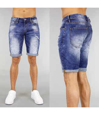 !OP=OP Denim Heren Short met Verfspatten