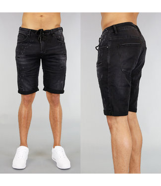 Zwart Denim Heren Short met Krassen