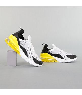 Witte Neopreen Heren Sneakers met Gele Hiel