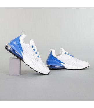 Witte Neopreen Heren Sneakers met Blauwe Hiel