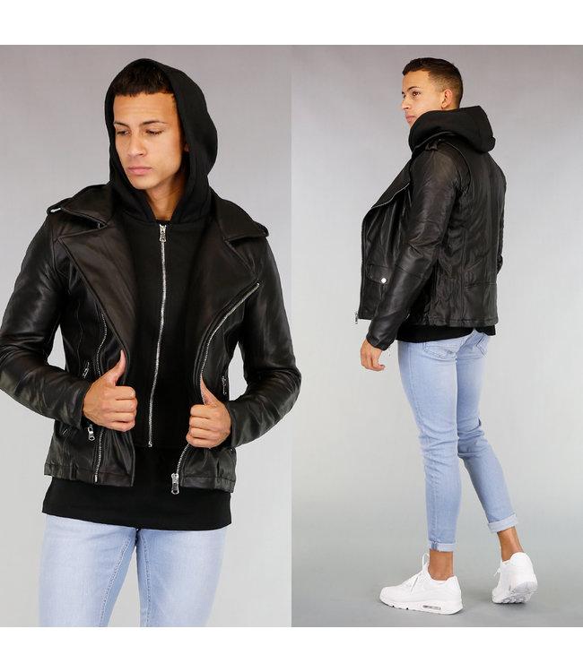 Zwart Lederlook Jacket met Binnenvest
