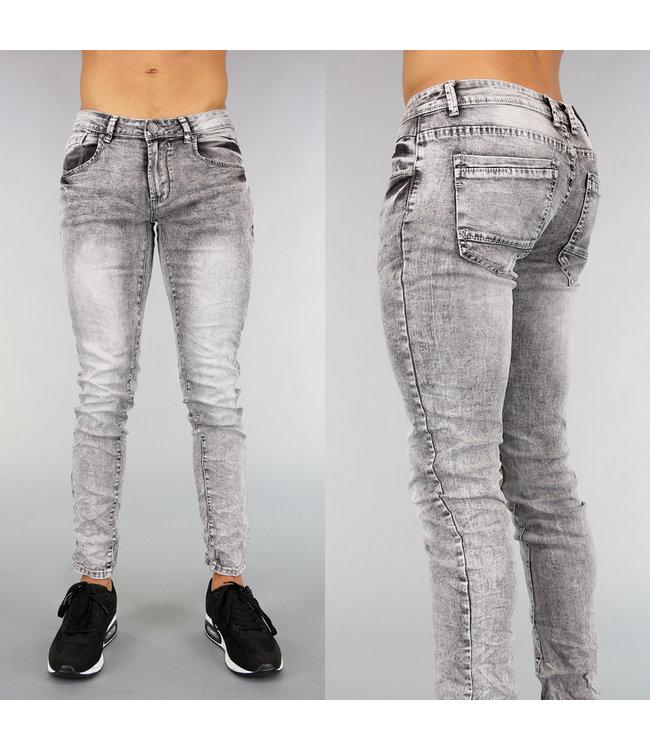 !OP=OP Grijs Acid Washed Heren Jeans