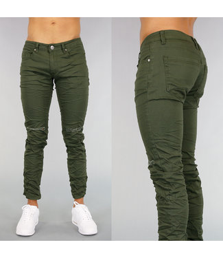 Legergroene Heren Jeans Met Kniescheuren