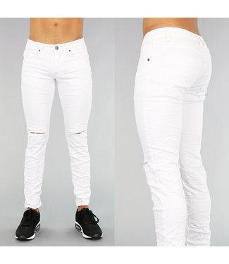 !OP=OP Witte Heren Jeans Met Kniescheuren