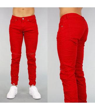 Rode Heren Jeans Met Kniescheuren