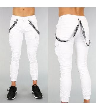 !OP=OP Witte Heren Cargo Jeans met Bretels
