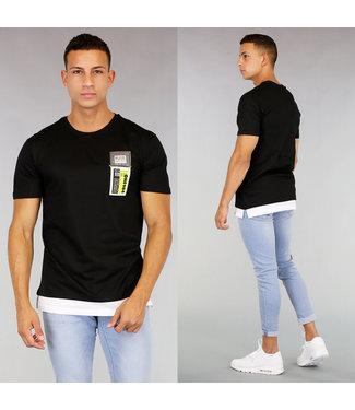 !OP=OP Zwart Double Shirt met Neon Detail
