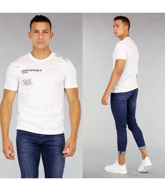 Wit Heren T-Shirt met Verfspatten en Tekst