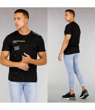 Zwart Heren T-Shirt met Verfspatten en Tekst