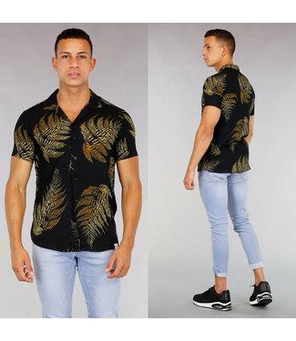 Zwarte Heren Blouse met Leaf Print