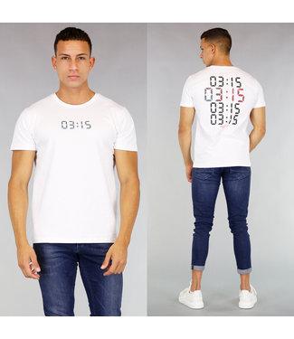 !SALE40 Wit Heren T-Shirt met Digitale Klok