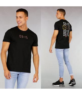 Zwart Heren T-Shirt met Digitale Klok