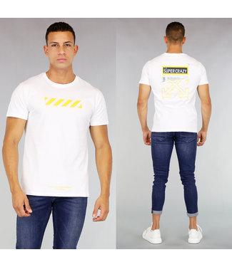 Wit Heren T-Shirt met Gele Bedrukking