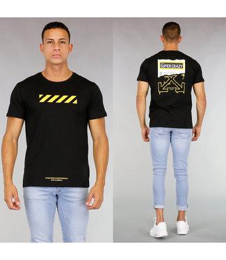 Zwart Heren T-Shirt met Gele Bedrukking